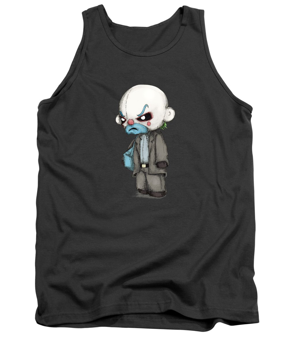 Bank Tank Top featuring the drawing Clown Bank Robber Plush by Ludwig Van Bacon