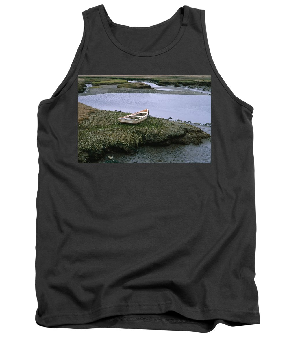 Landscape New England Marsh Row Boat Rye Harbor Tank Top featuring the photograph Cnrf0503 by Henry Butz