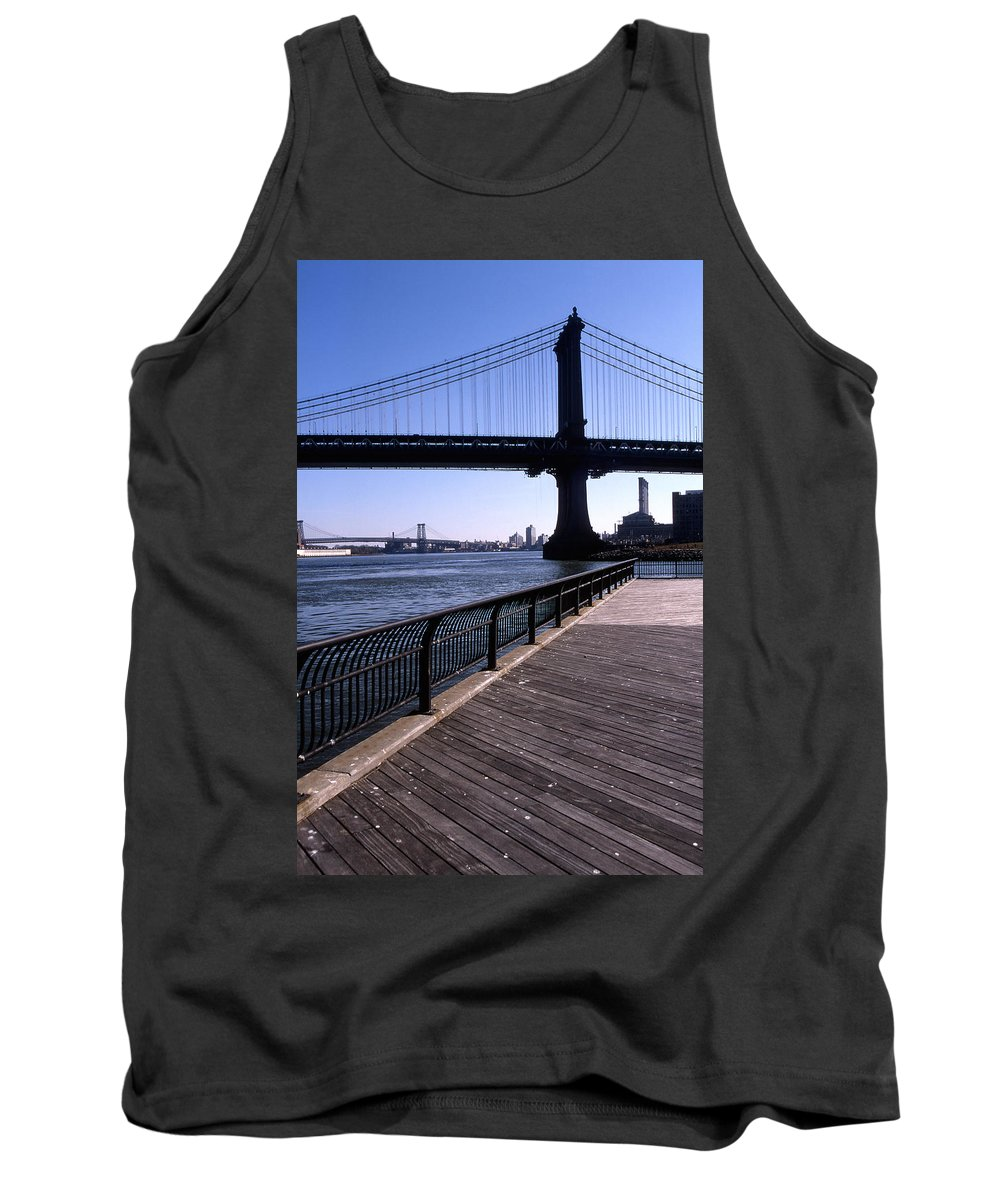 Landscape Manhattan Bridge New York City Tank Top featuring the photograph Cnrg0402 by Henry Butz