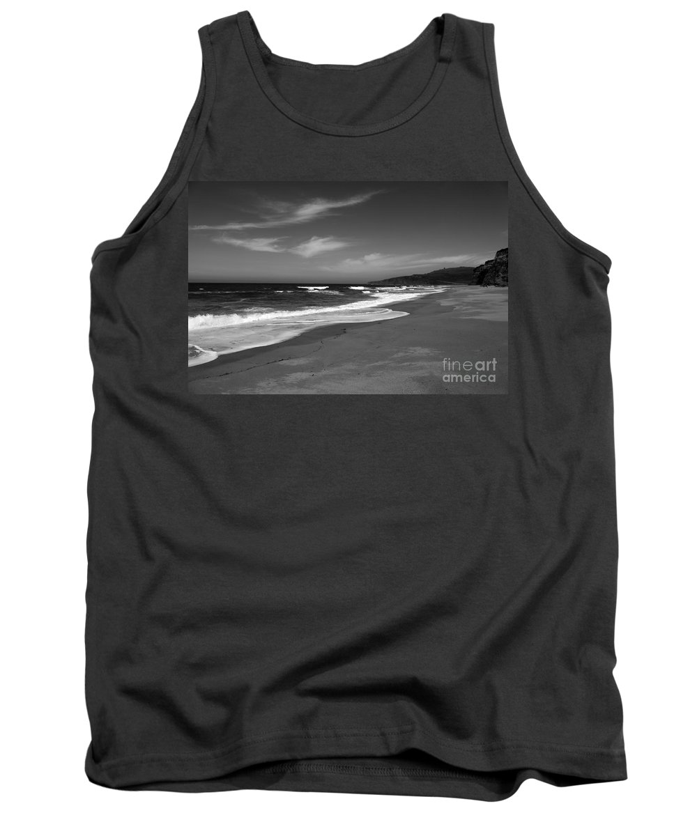 Coastline Tank Top featuring the photograph Coastline Black And White by Amanda Barcon