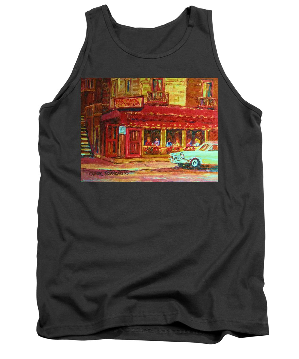 St Tank Top featuring the painting Coffee Bar On The Corner by Carole Spandau