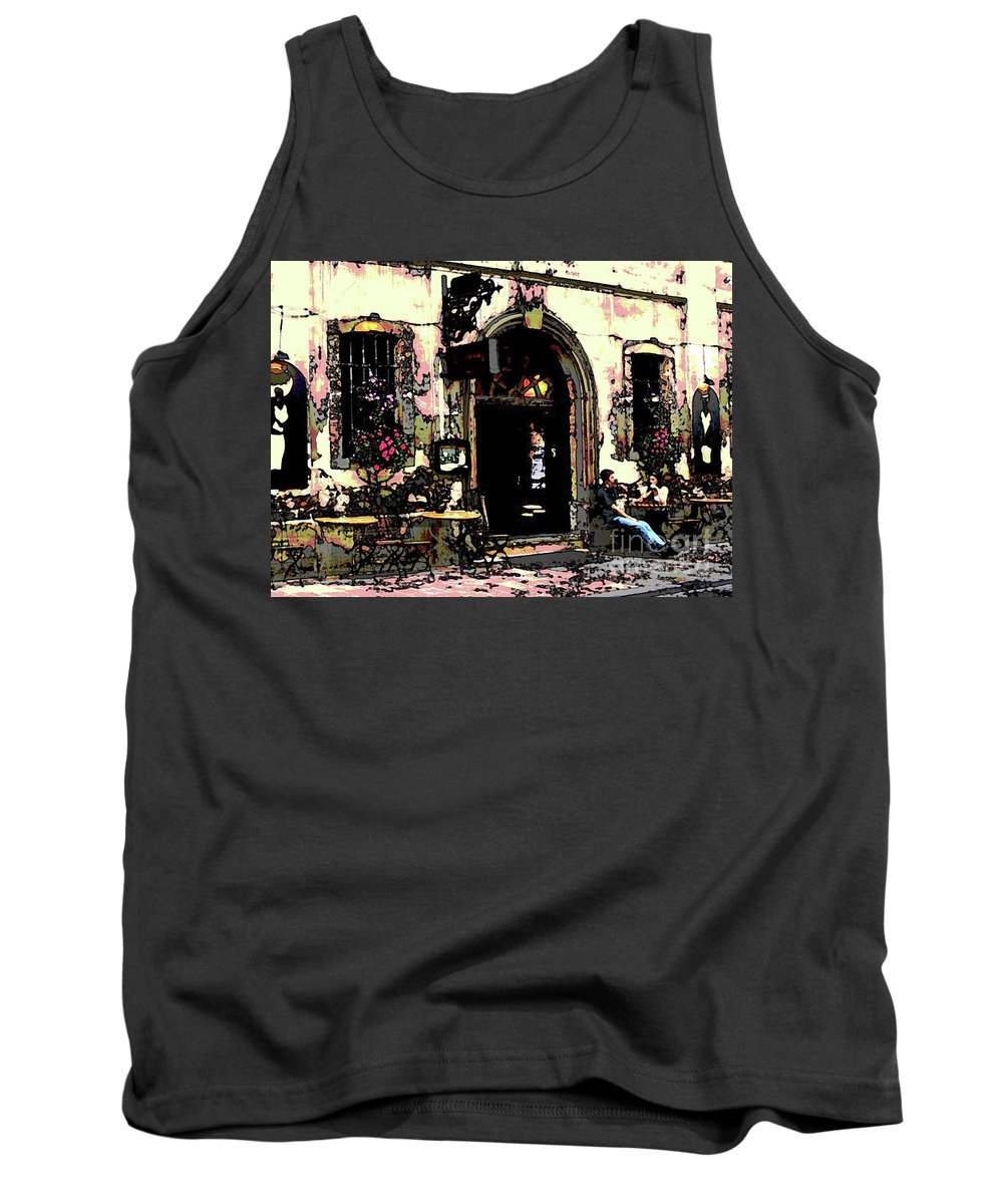 Coffee Table Conversation Exterior Tank Top featuring the digital art Coffee Shop by Sandra Nortje
