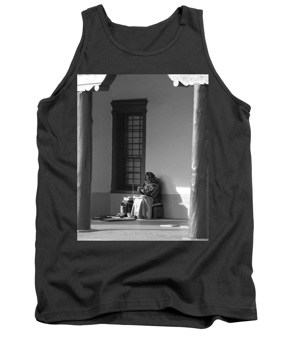 Southwestern Tank Top featuring the photograph Cold Native American Woman by Rob Hans