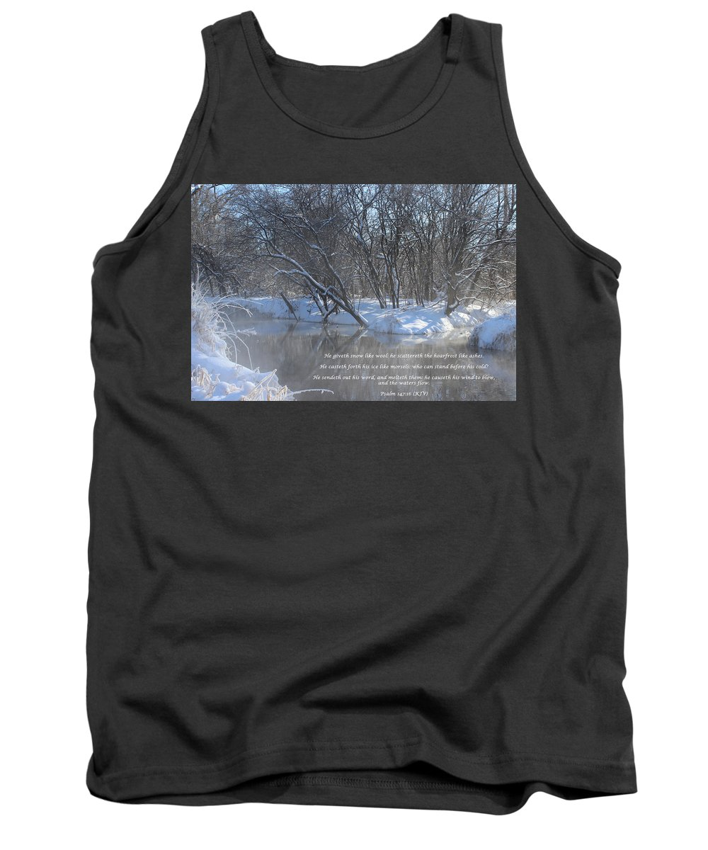 Valley Tank Top featuring the mixed media Cold-snow by Cliff Ball