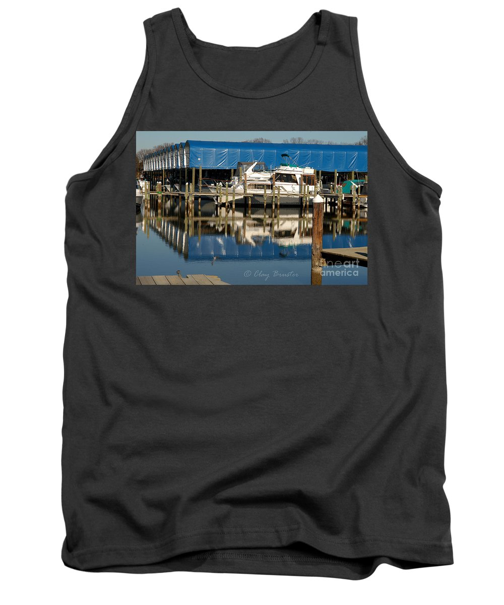 Clay Tank Top featuring the photograph Colonial Beach Marina by Clayton Bruster