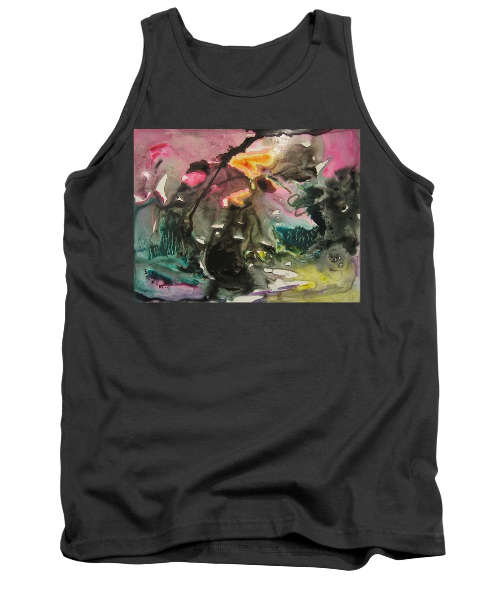 Abstract Paintings Tank Top featuring the painting Color Fever 125 by Seon-Jeong Kim
