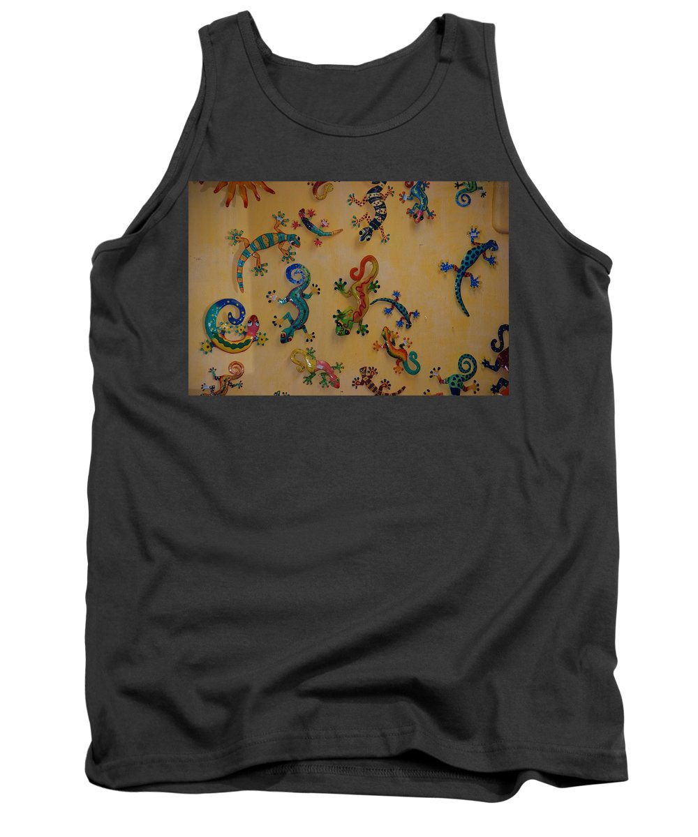 Pop Art Tank Top featuring the photograph Color Lizards On The Wall by Rob Hans