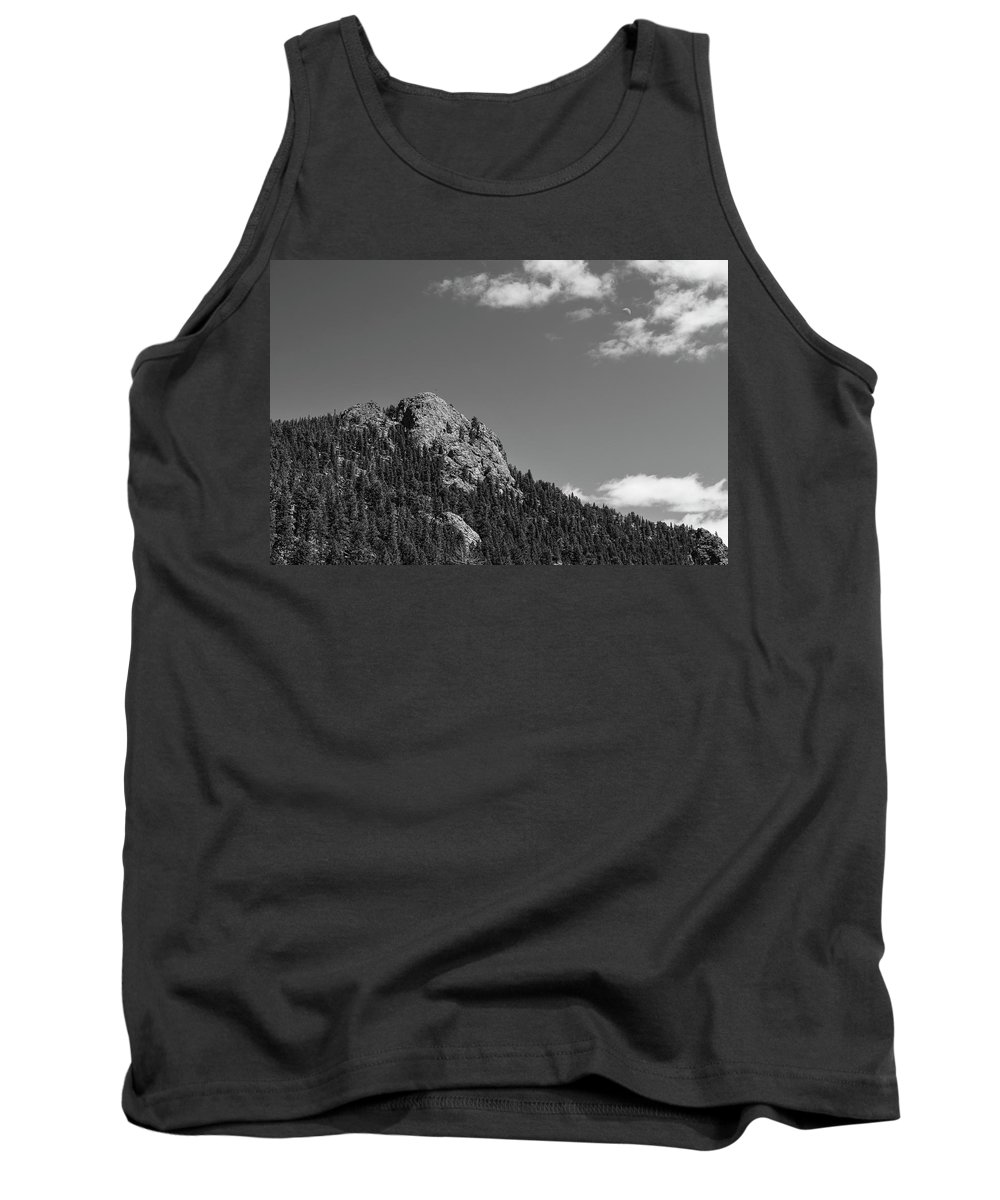 Black White Tank Top featuring the photograph Colorado Buffalo Rock With Waxing Crescent Moon In Bw by James BO Insogna