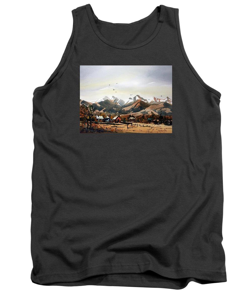 Colorado Tank Top featuring the painting Colorado Mountain Ranch by Ugljesa Janjic