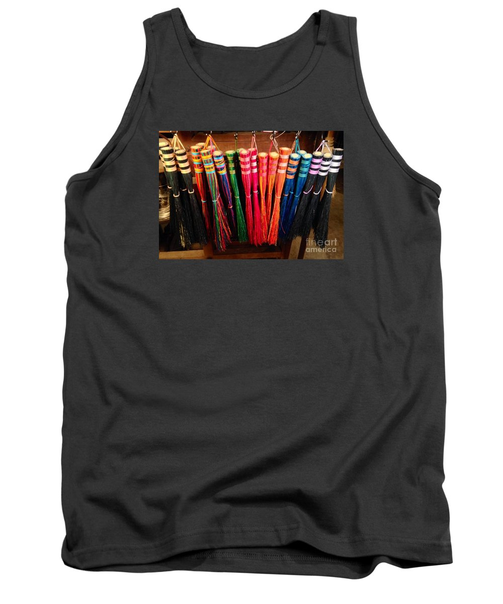 Whisk Broom Tank Top featuring the mixed media Colored Whisks by Brian Newton