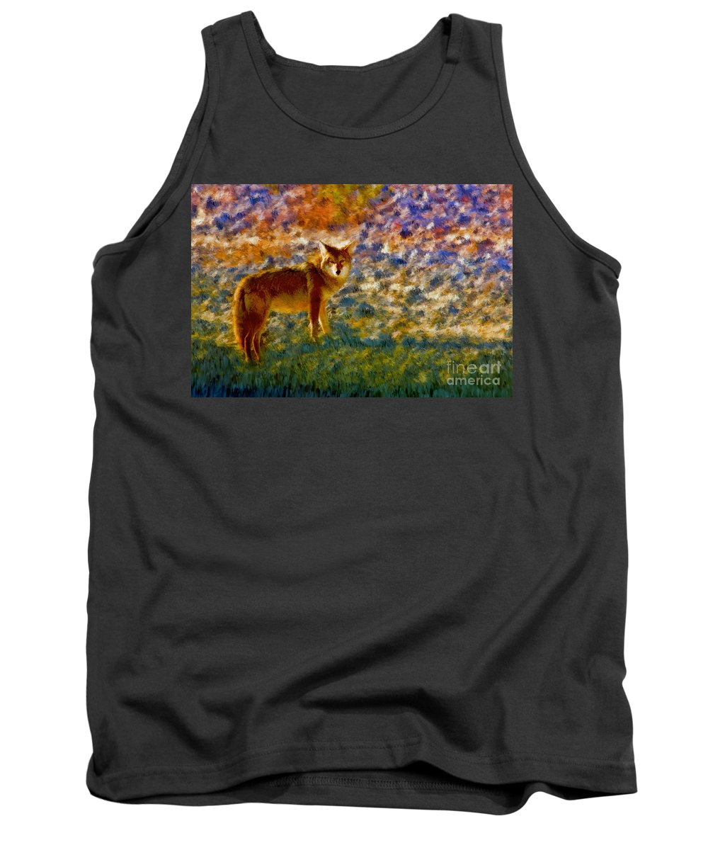 Death Valley Tank Top featuring the photograph Colorized Death Valley Coyote by Blake Richards