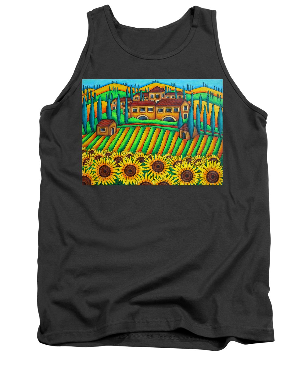 Tuscany Tank Top featuring the painting Colours Of Tuscany by Lisa Lorenz