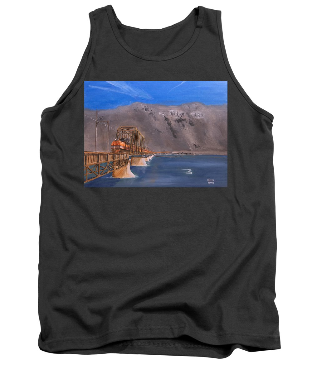 Train Tank Top featuring the painting Columbia Crossing by Christopher Jenkins