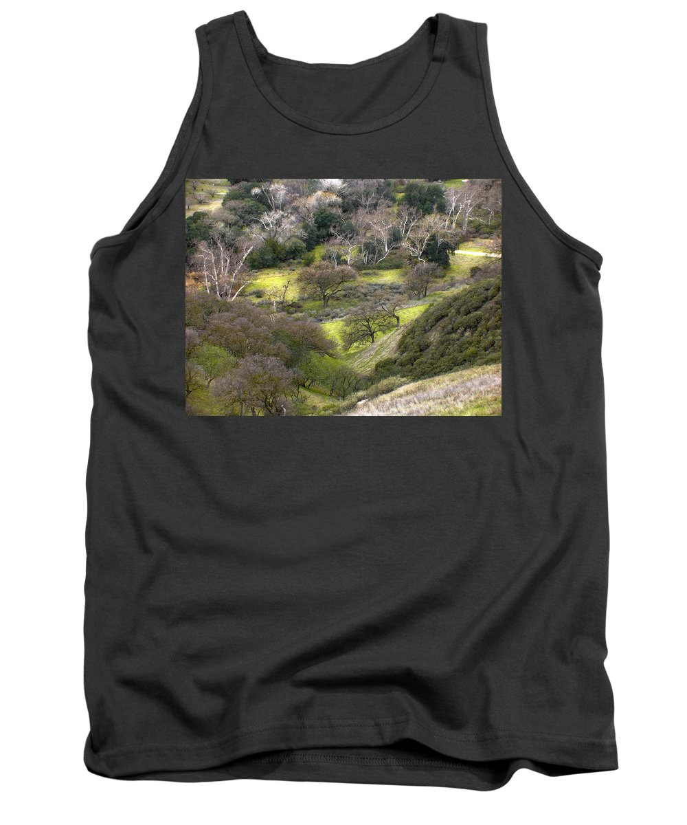 Landscapes Tank Top featuring the photograph Coming Down The Hill by Karen W Meyer