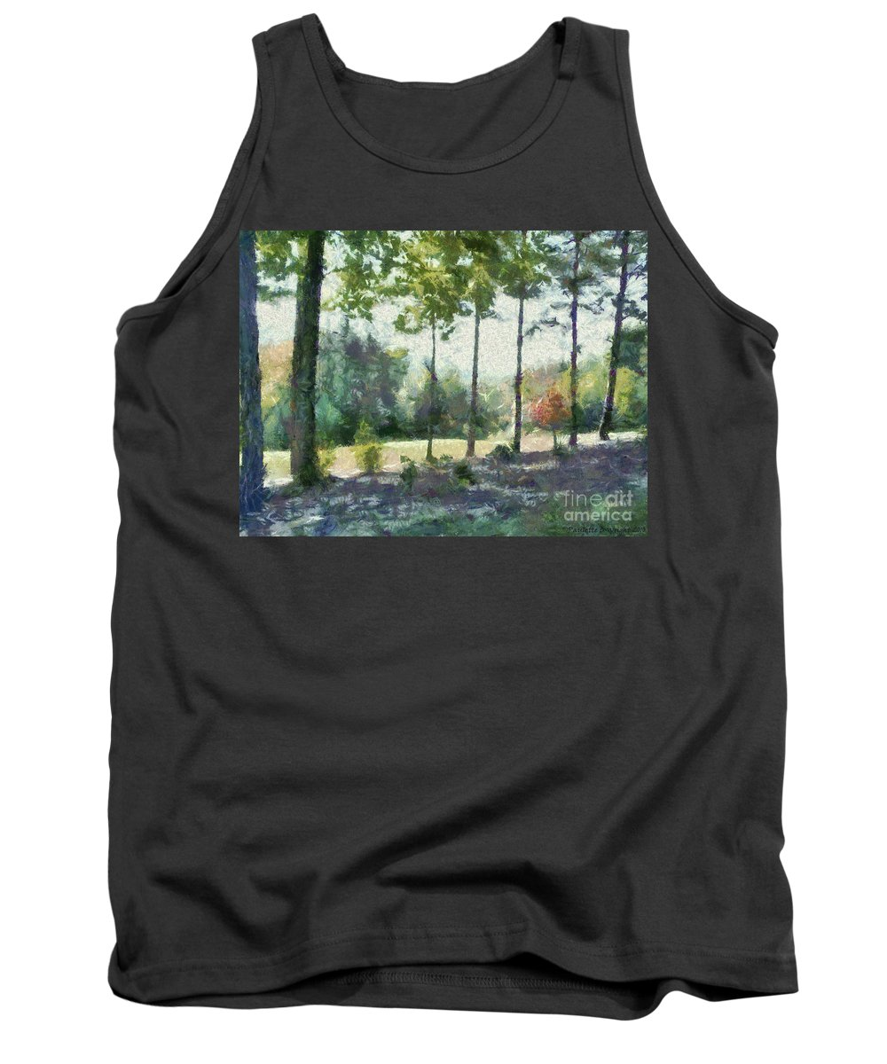 Homestead Tank Top featuring the painting Coming Out Of The Woods by Paulette B Wright