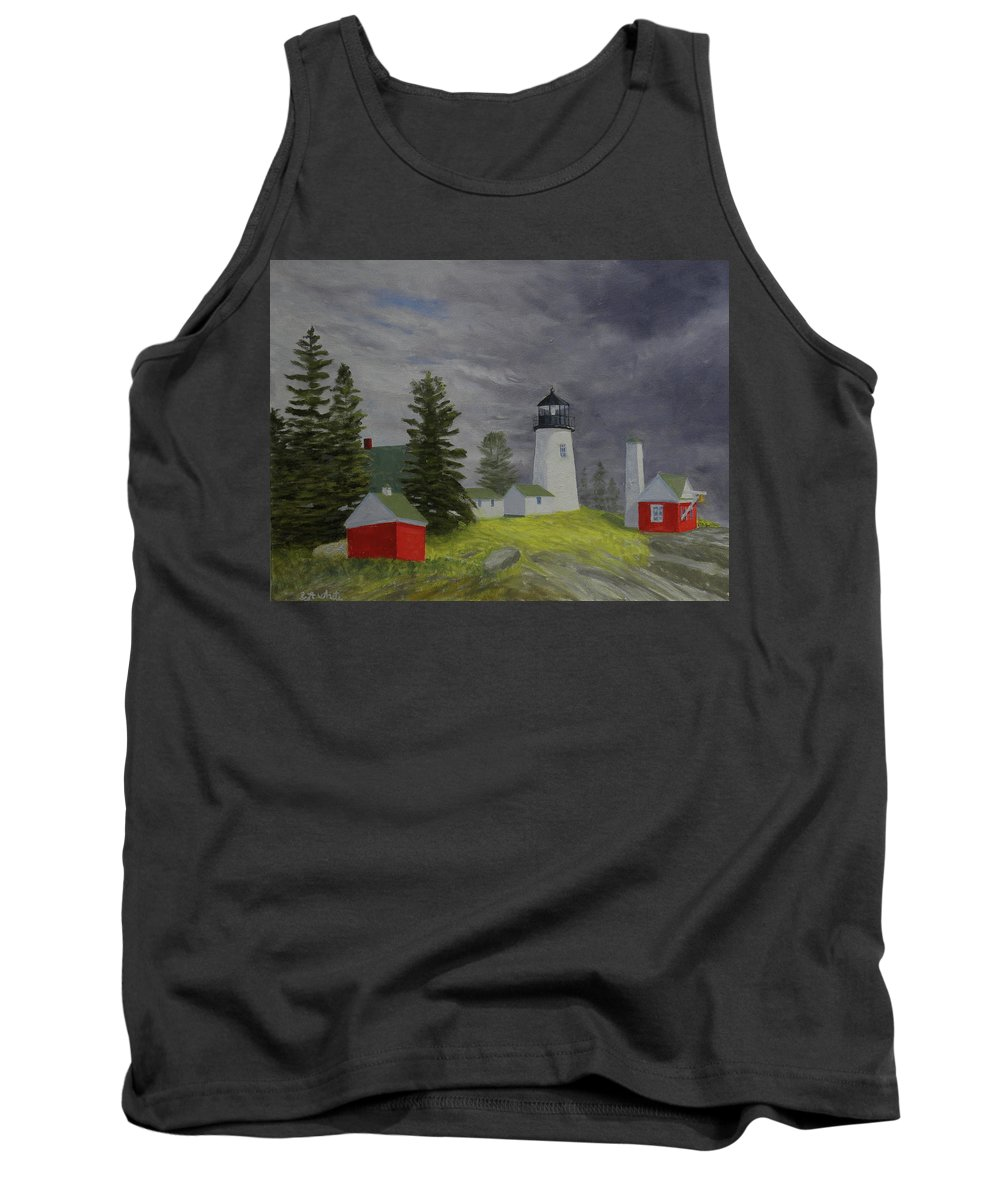 Lighthouse Storm Seascape Pemaquid Ocean Tank Top featuring the painting Coming Storm by Scott W White