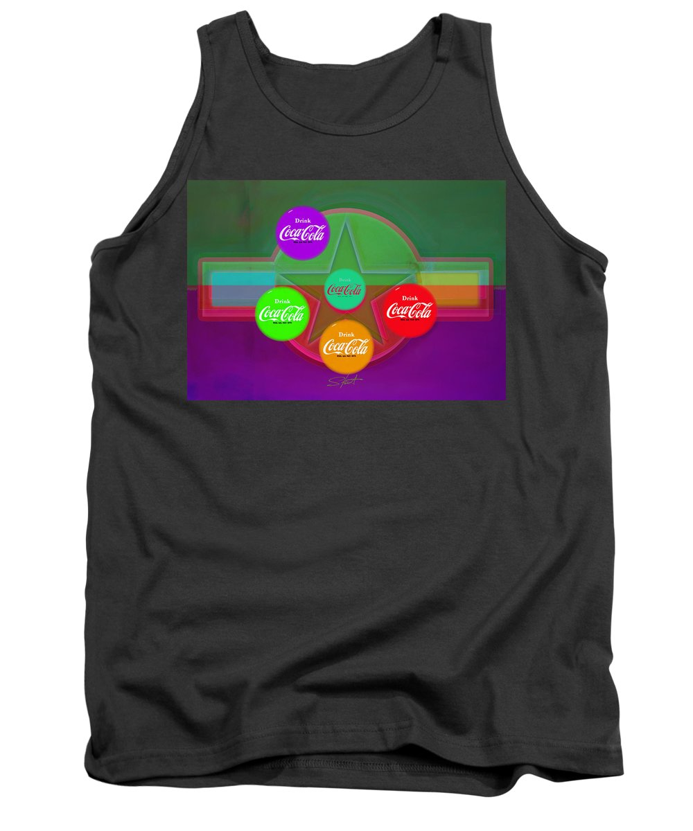 Insignia Tank Top featuring the digital art Coming To Red RED by Charles Stuart