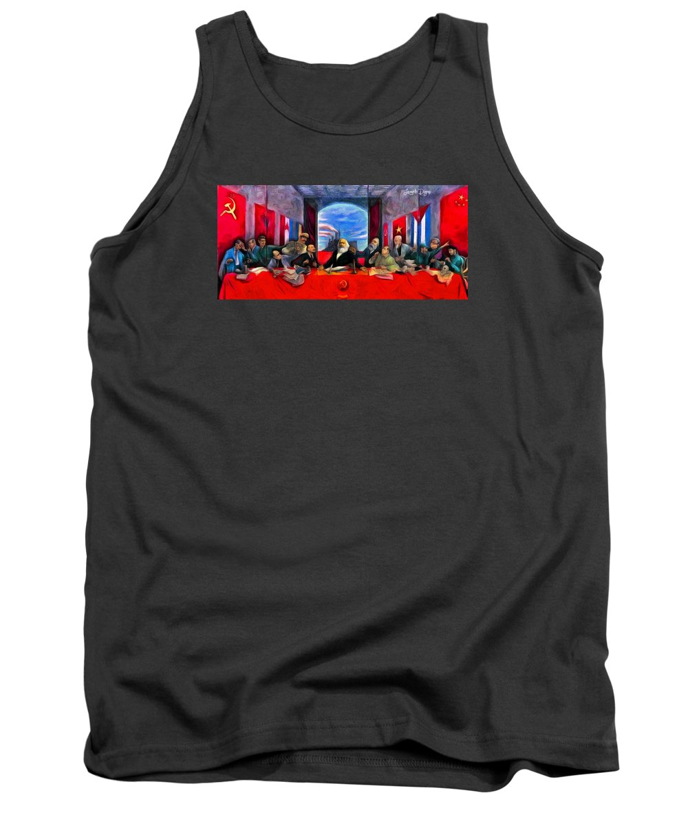 Communist Last Supper Tank Top featuring the painting Communist Last Supper by Leonardo Digenio