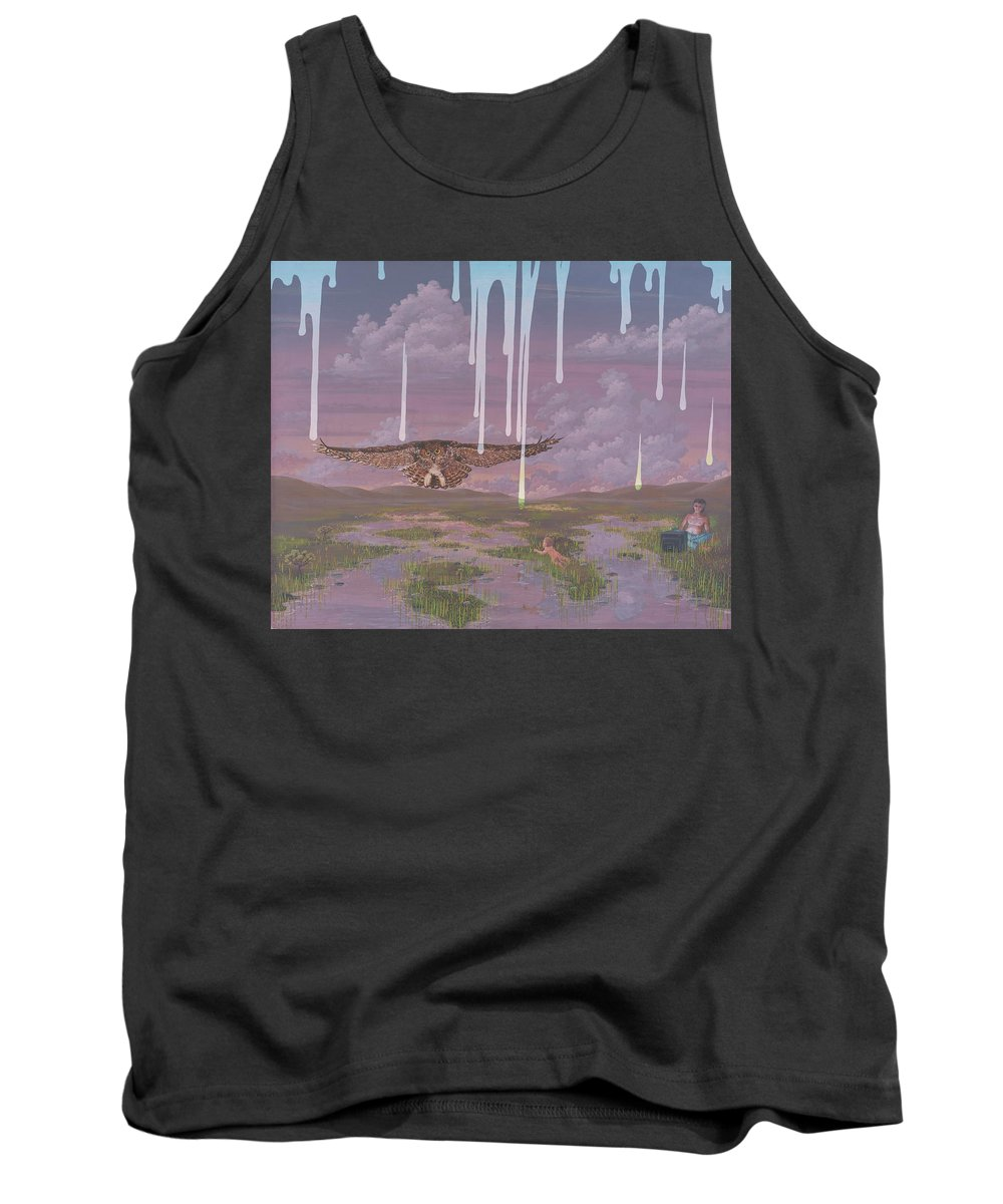 Surrealism Landscape Tank Top featuring the painting Complacency by Jon Carroll Otterson