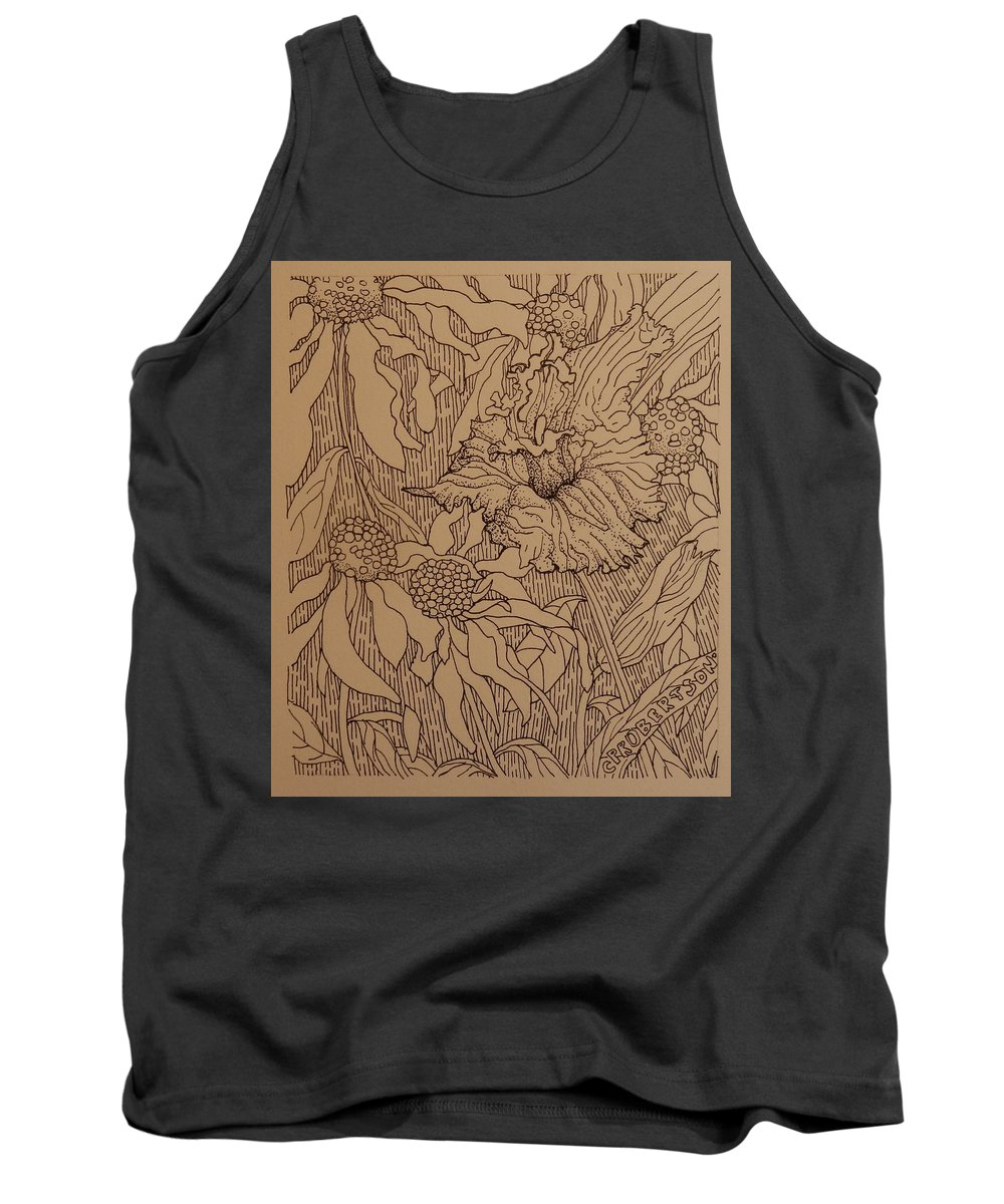 Pen And Ink Drawing Flowers Lily Daylily Cone Flower Pattern Black And White Tank Top featuring the drawing Cone Flowers And Daylily by Catherine Robertson