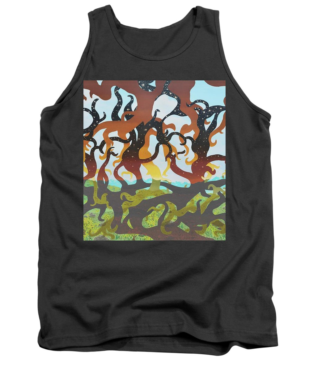 Surrealism/landscape Tank Top featuring the painting Conflict by Jon Carroll Otterson