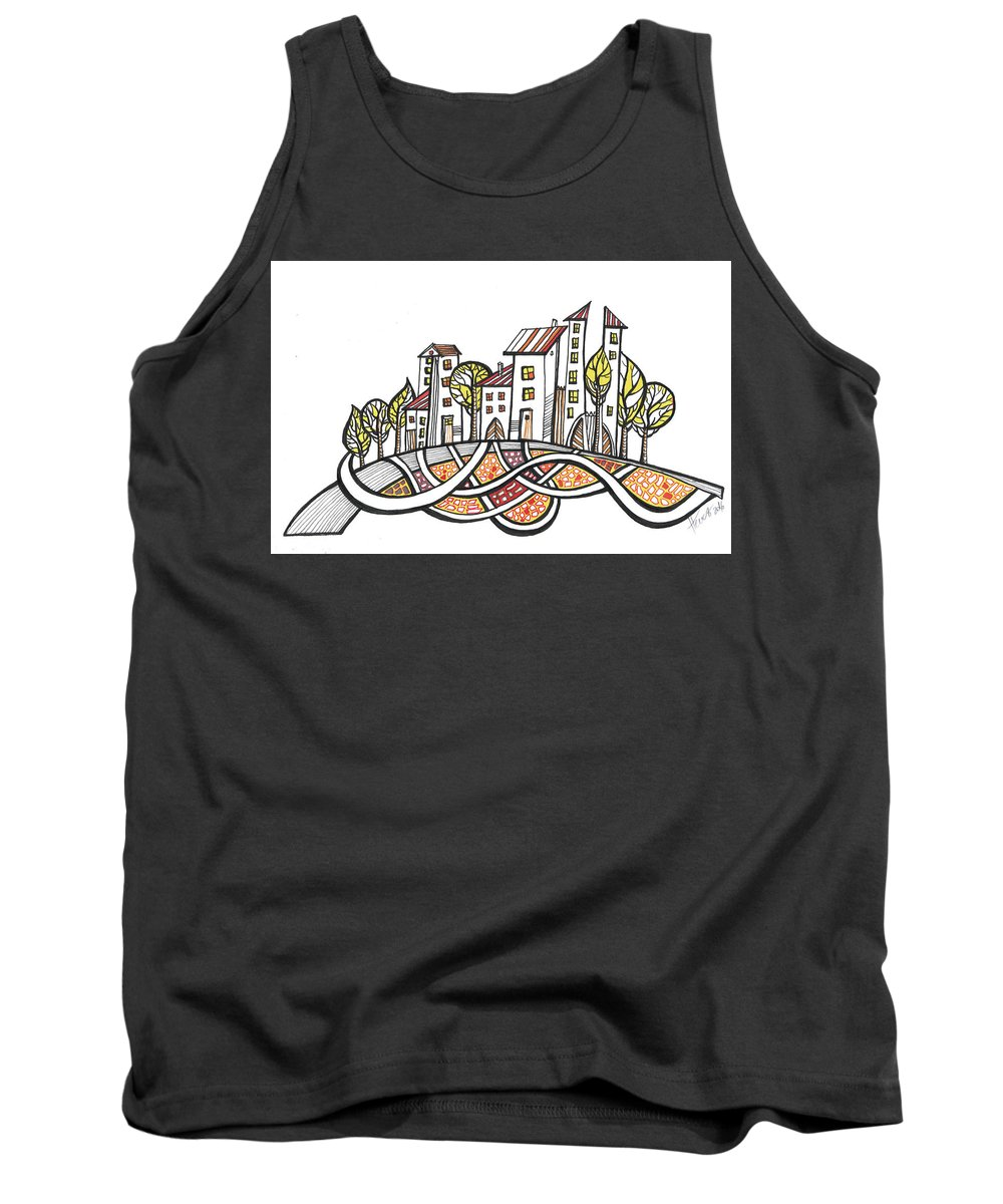 Houses Tank Top featuring the drawing Connections by Aniko Hencz