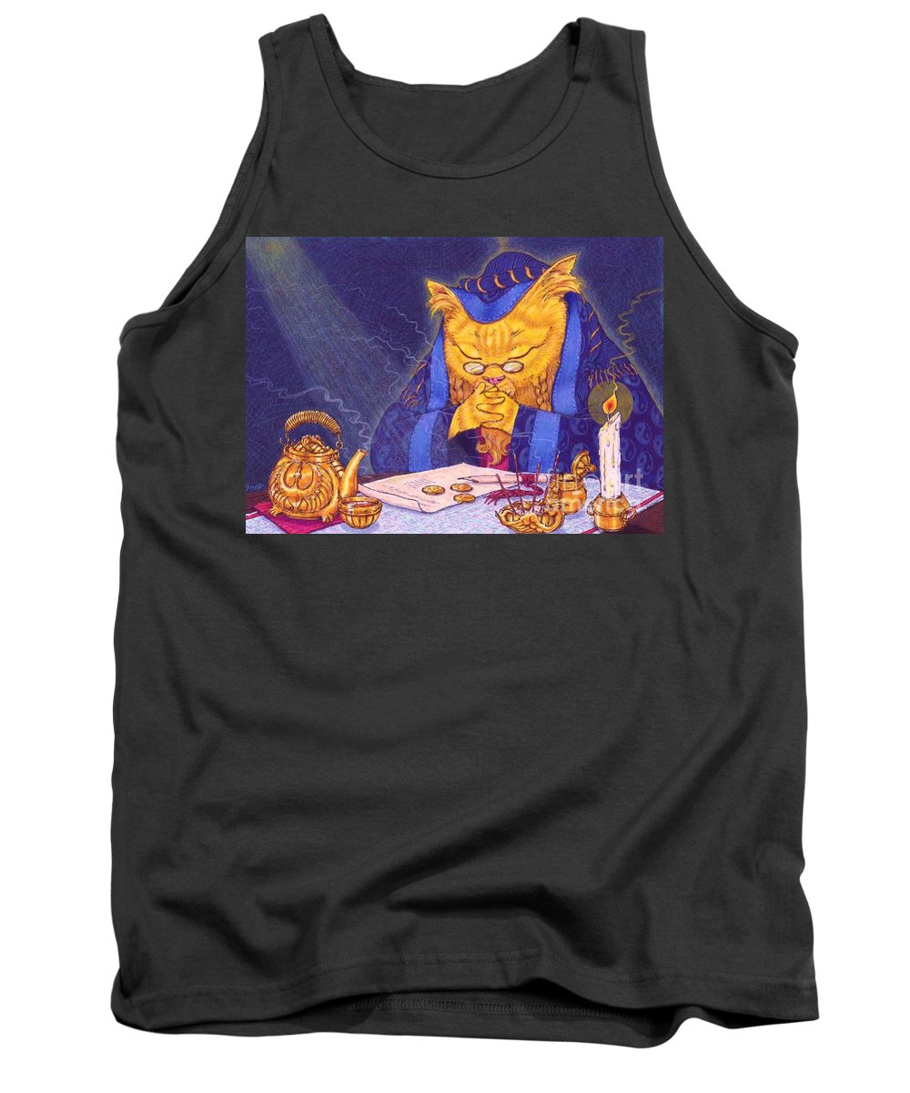 Cat Tank Top featuring the painting Contemplation by Sin D Piantek