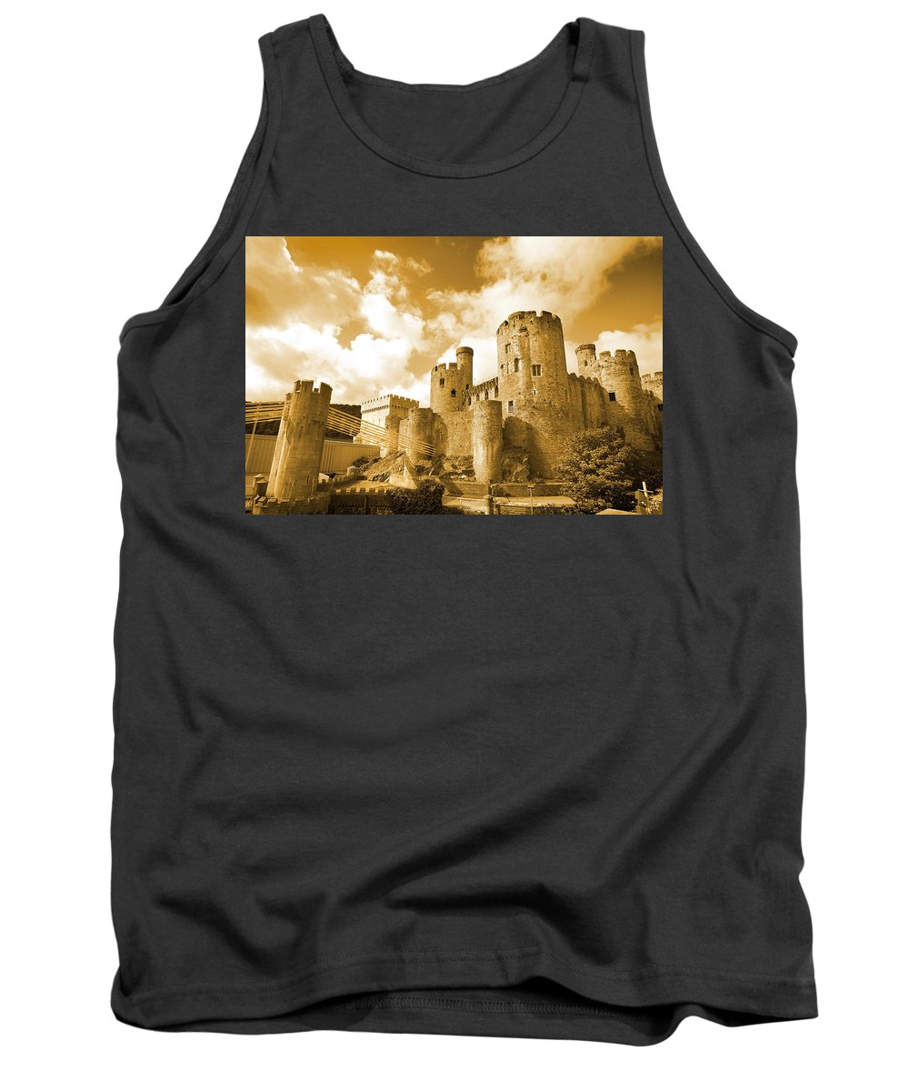 Castle Tank Top featuring the photograph Conwy Castle And The Telford Suspension Bridge North Wales by Mal Bray