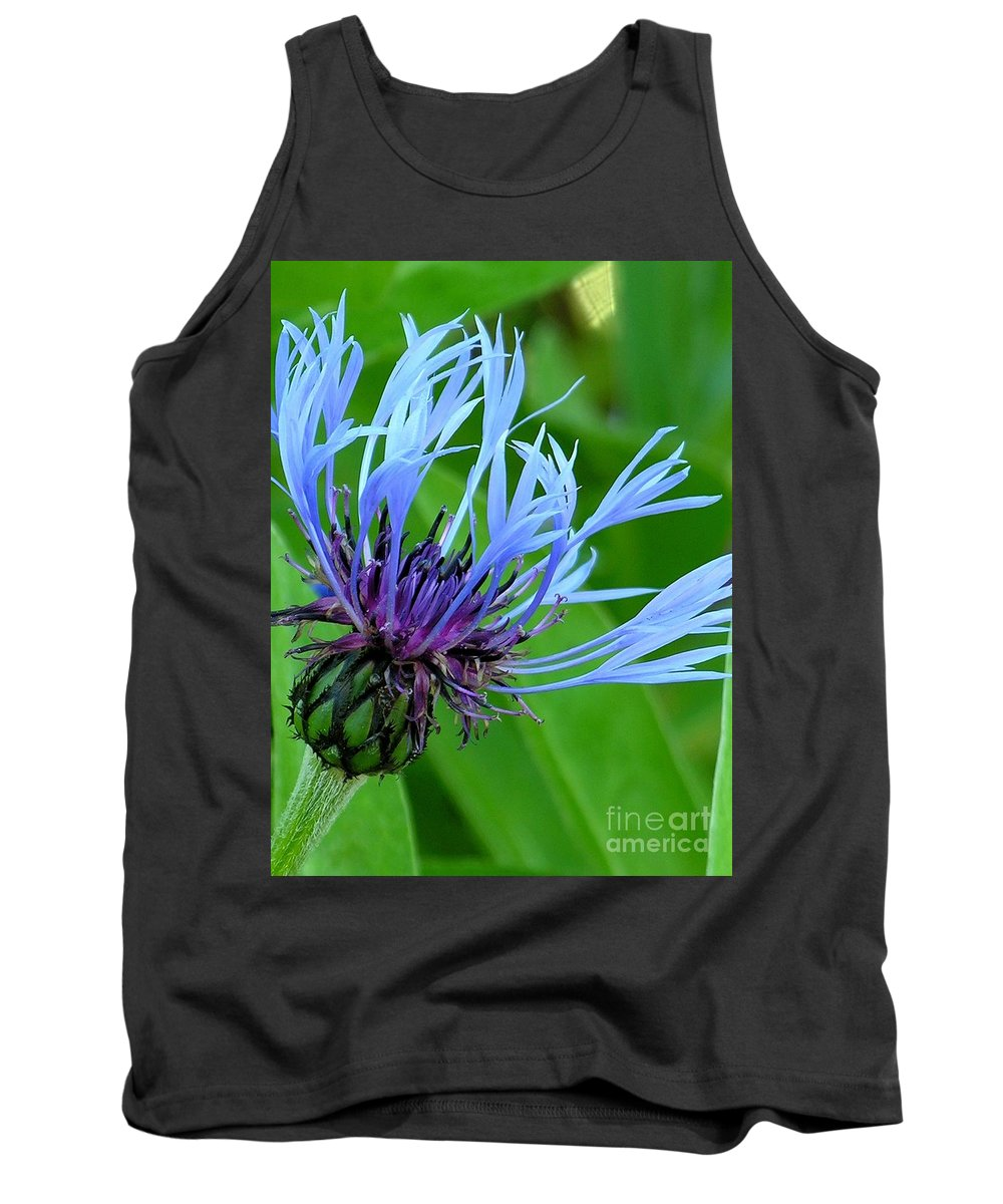 Blue Tank Top featuring the photograph Cornflower Centaurea Montana by Diane Greco-Lesser