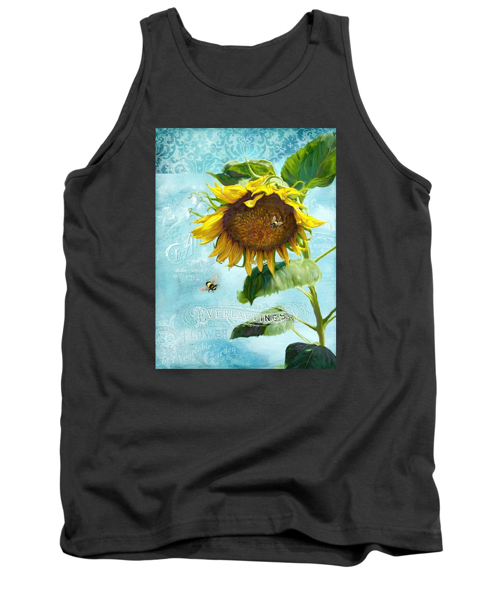 Sunflower Tank Top featuring the painting Cottage Garden Sunflower - Everlastings Seeds N Flowers by Audrey Jeanne Roberts