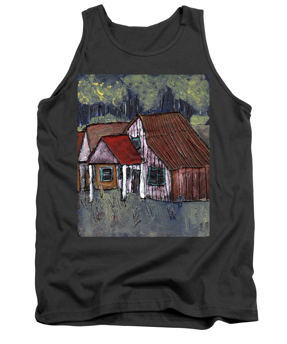 Cottage Tank Top featuring the painting Cottage In The Woods by Wayne Potrafka