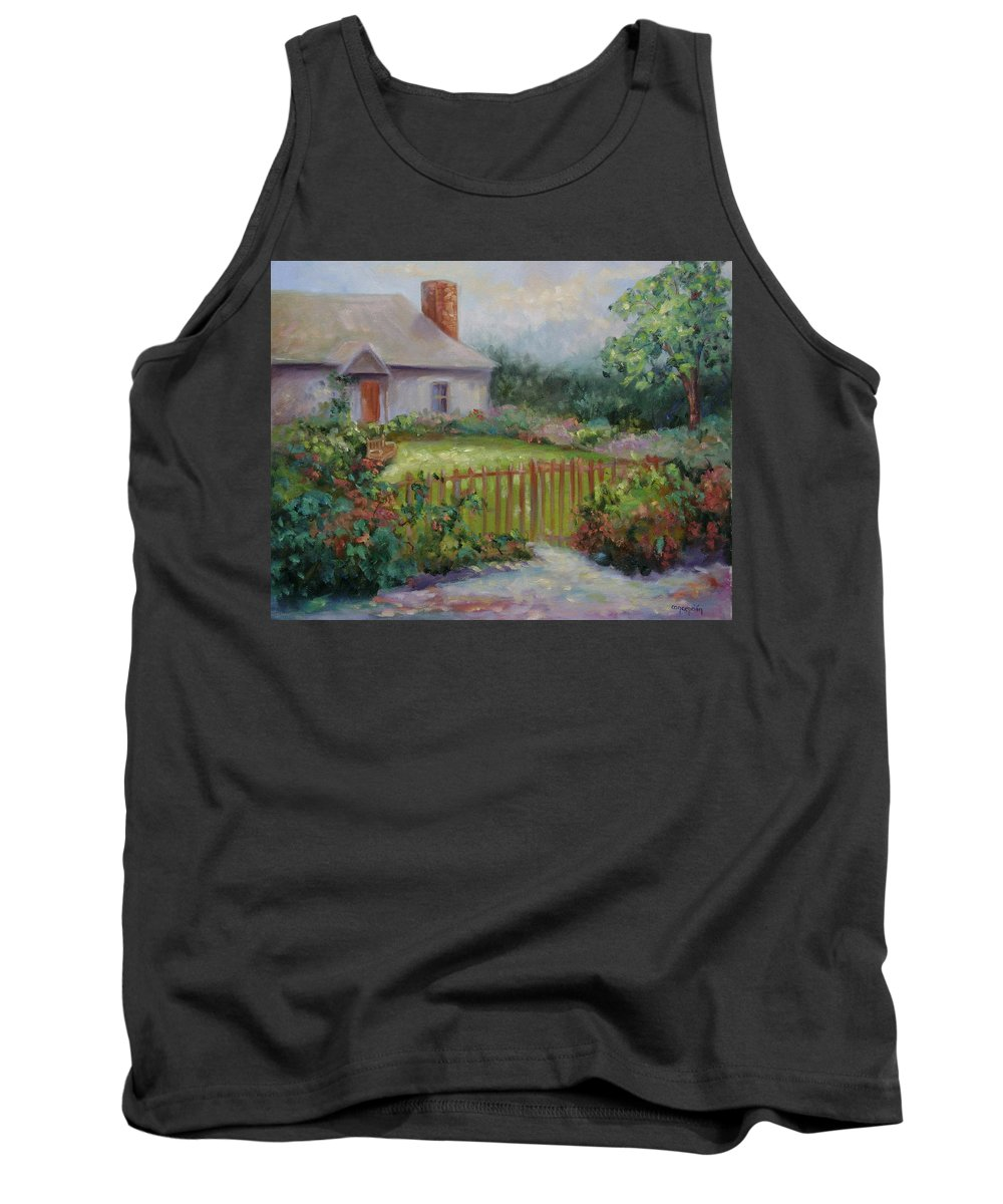 Cottswold Tank Top featuring the painting Cottswold Cottage by Ginger Concepcion