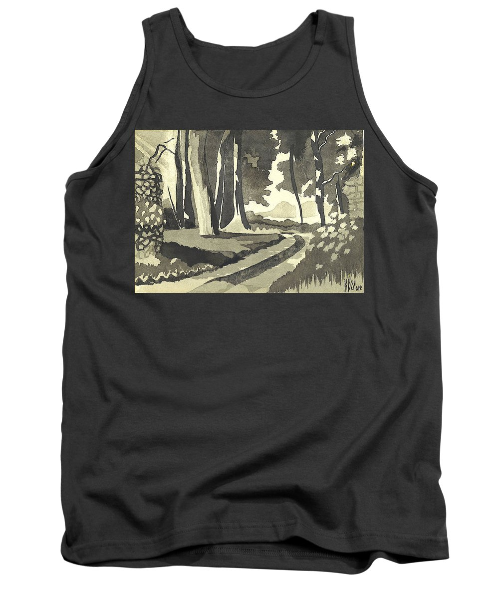 Rural Tank Top featuring the painting Country Lane In Evening Shadow by Kip DeVore