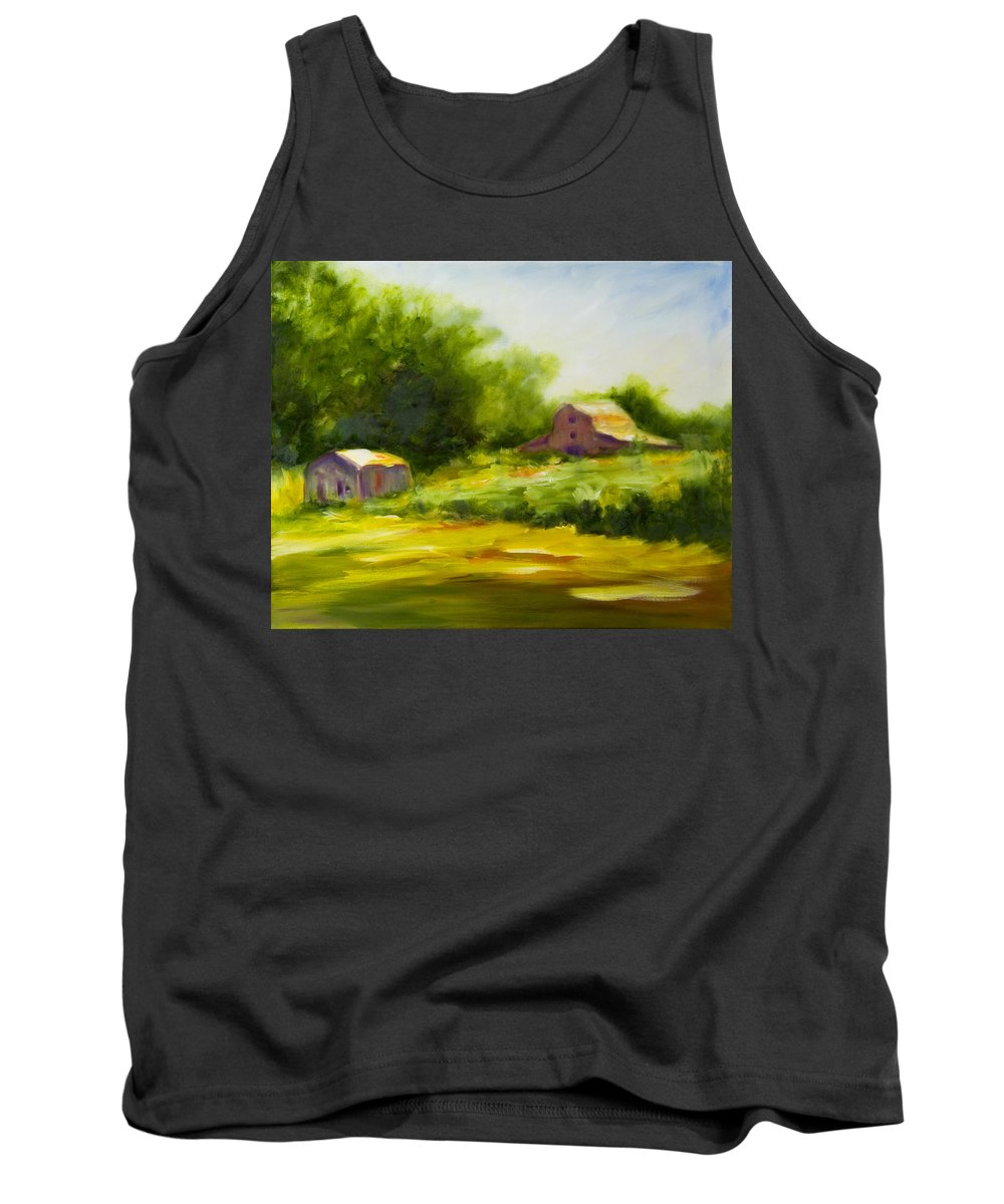 Landscape In Green Tank Top featuring the painting Courage by Shannon Grissom