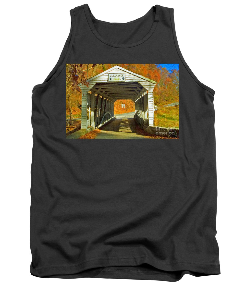Covered Bridge Revolutionary Civil War Impasto Tank Top featuring the photograph Covered Bridge Impasto Oil by David Zanzinger