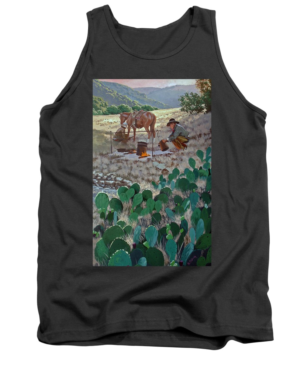 Texas Tank Top featuring the painting Cowboy Coffeebreak by Russell Cushman