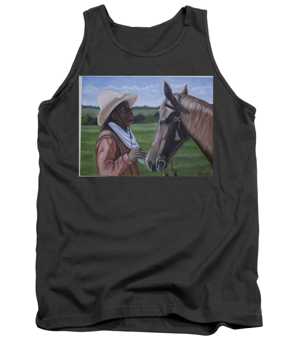 Portrait Tank Top featuring the painting Cowboy2 by Toni Berry