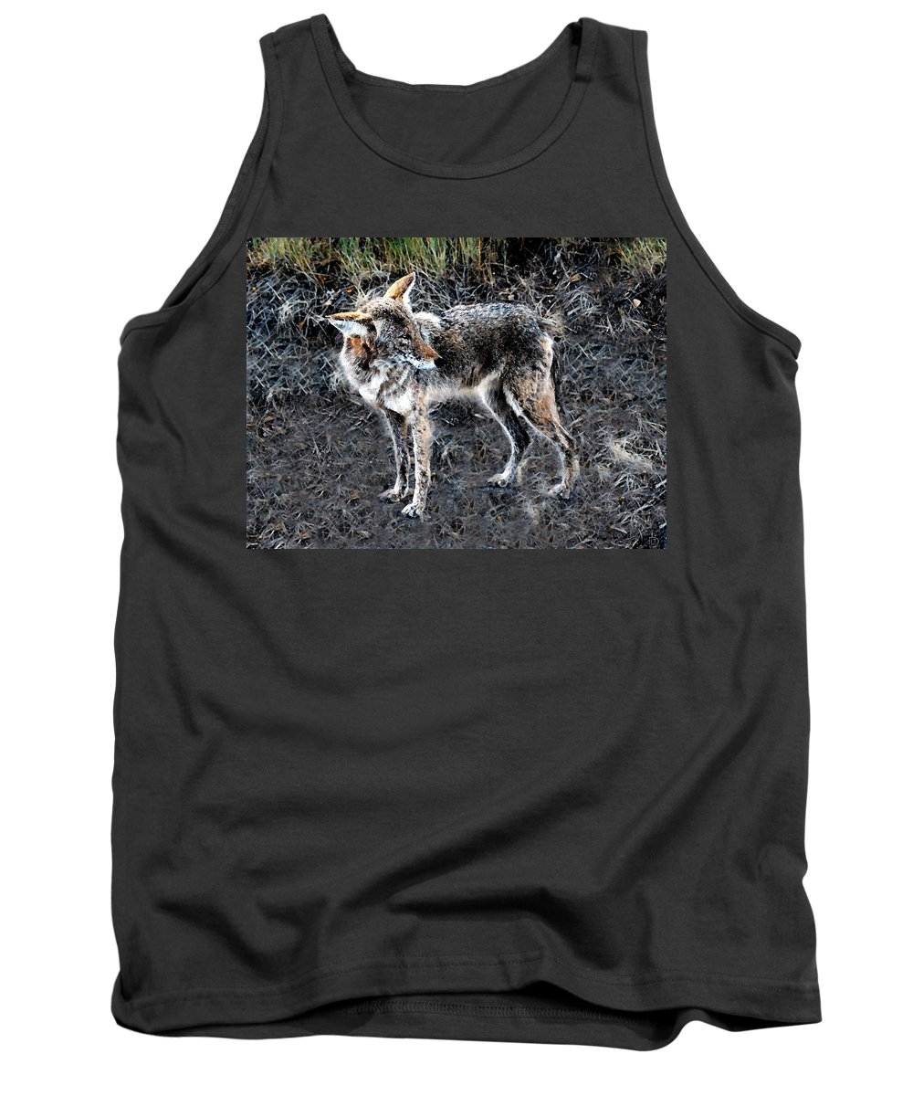 Coyote Tank Top featuring the painting Coyote Waits by David Lee Thompson