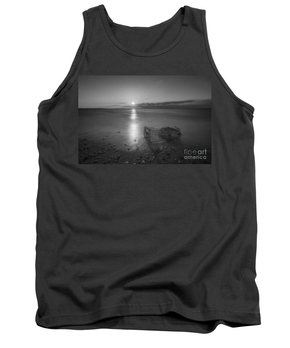 Sandy Hook Tank Top featuring the photograph Crab Trap Sunset Le Bw by Michael Ver Sprill