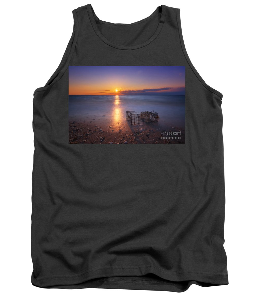 Sandy Hook Tank Top featuring the photograph Crab Trap Sunset Le by Michael Ver Sprill
