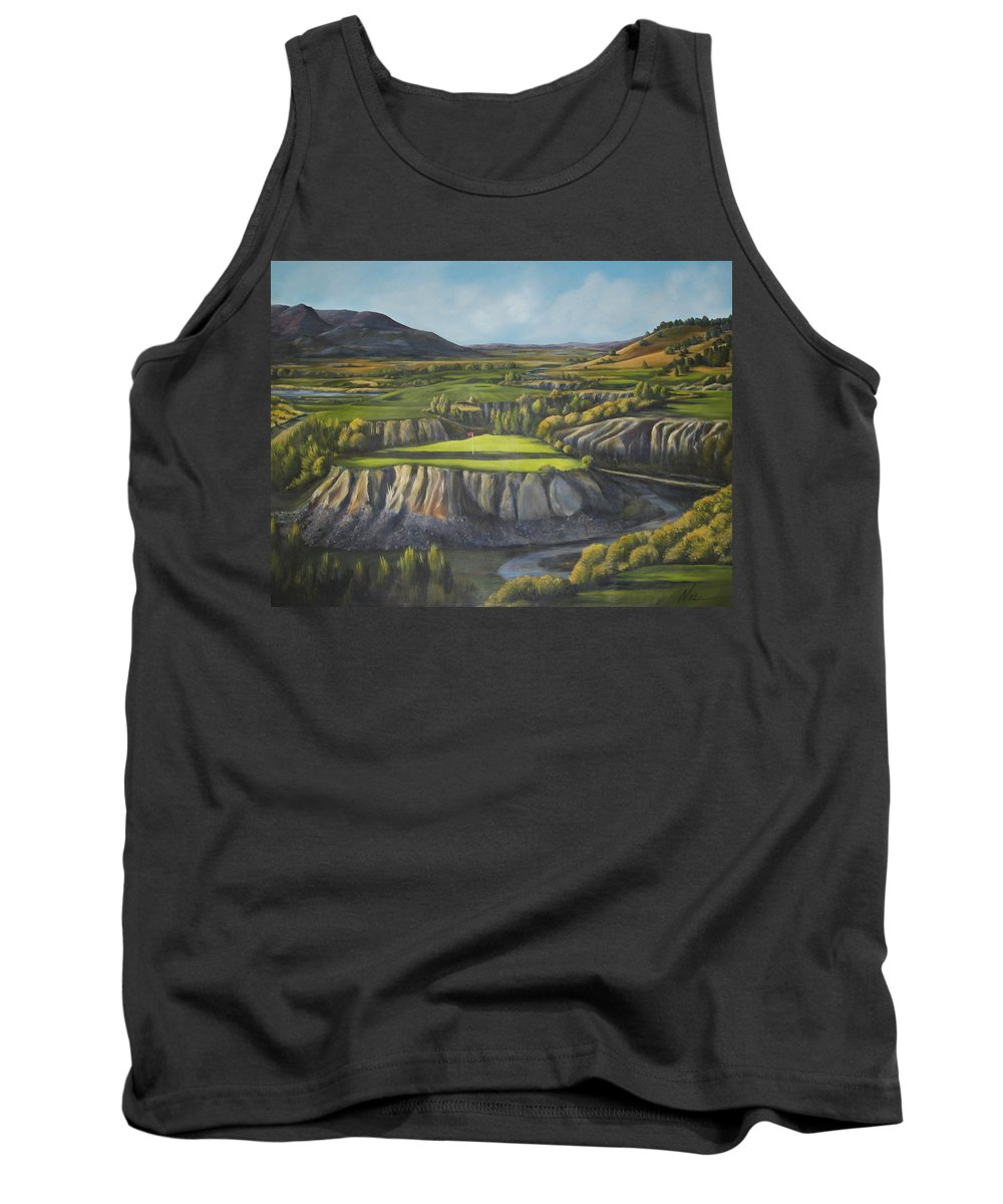Golf Tank Top featuring the painting Craig's Course by Melody Horton Karandjeff