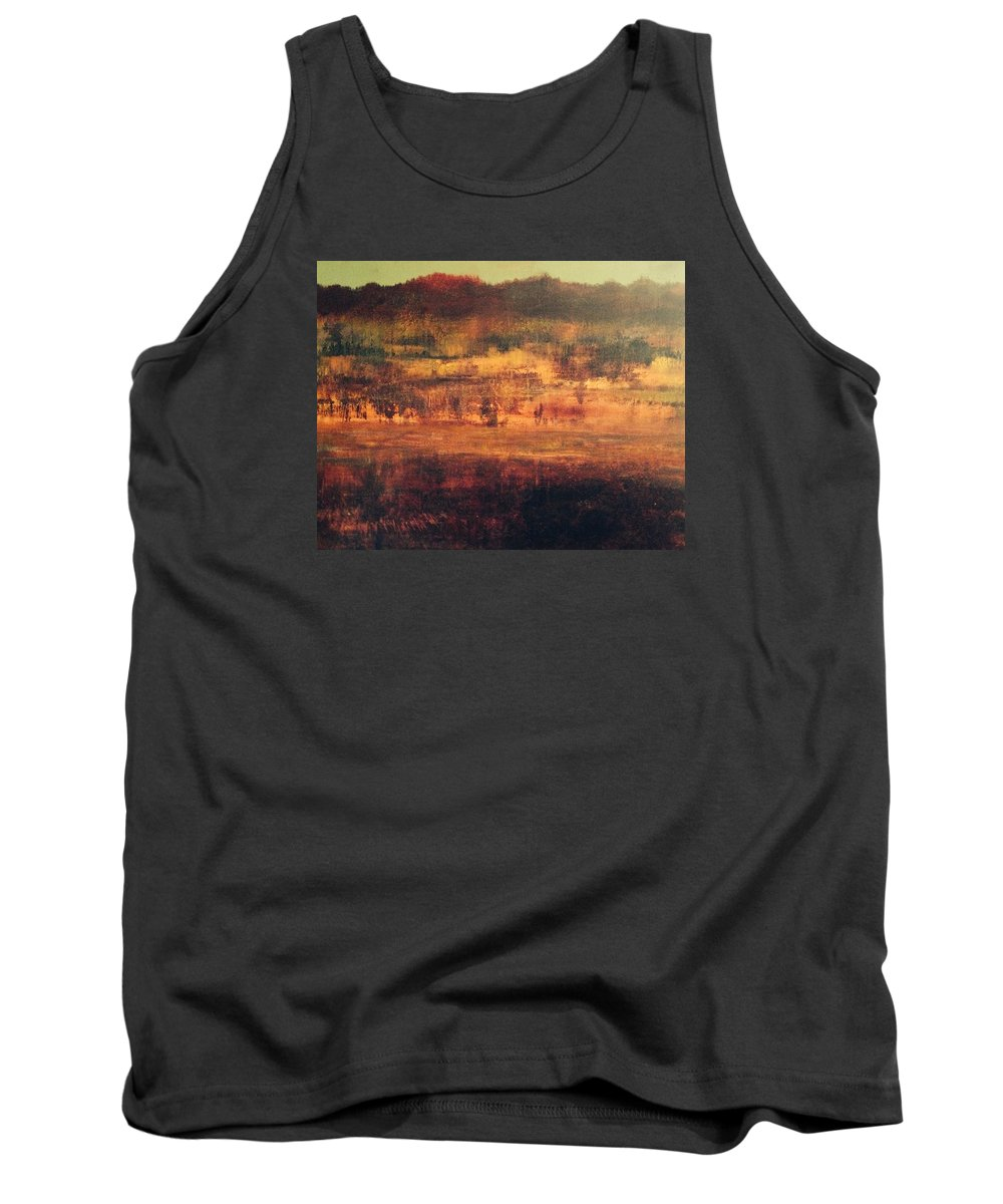 Landscape Fields Autumn Reds. Cranberry Harvest Countryside Golds Ochres Nature. Impressionistic. Abstract Farmland. British Columbia. Pitt Meadows Tank Top featuring the painting Cranberry Fields In November by Judy Osiowy
