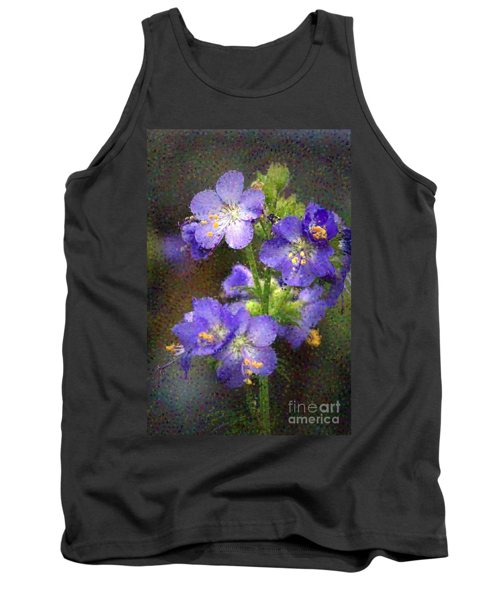 Flowers Tank Top featuring the photograph Craquelure On Blue by Deborah Benoit