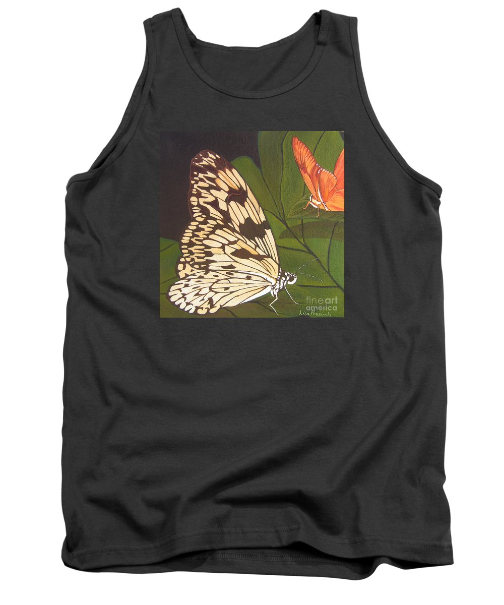 Butterfly Tank Top featuring the painting Cream And Orange Butterflies by Lisa Prusinski