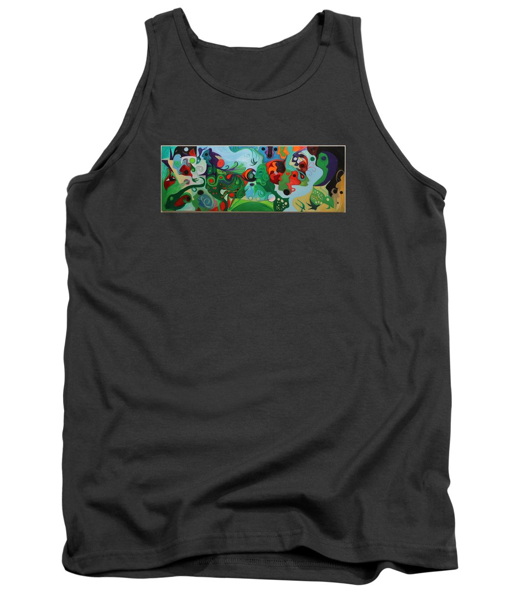 Abstract Expressionism Creation Organic Leaf Flower Face Bird Dragon Crocodile Creature Peacock Wind Water Turtle Cloud Sand Tank Top featuring the painting Creative Soul by Marius Manea