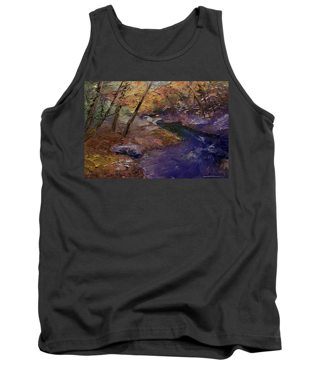 Landscape Tank Top featuring the painting Creek Bank by Stephen King