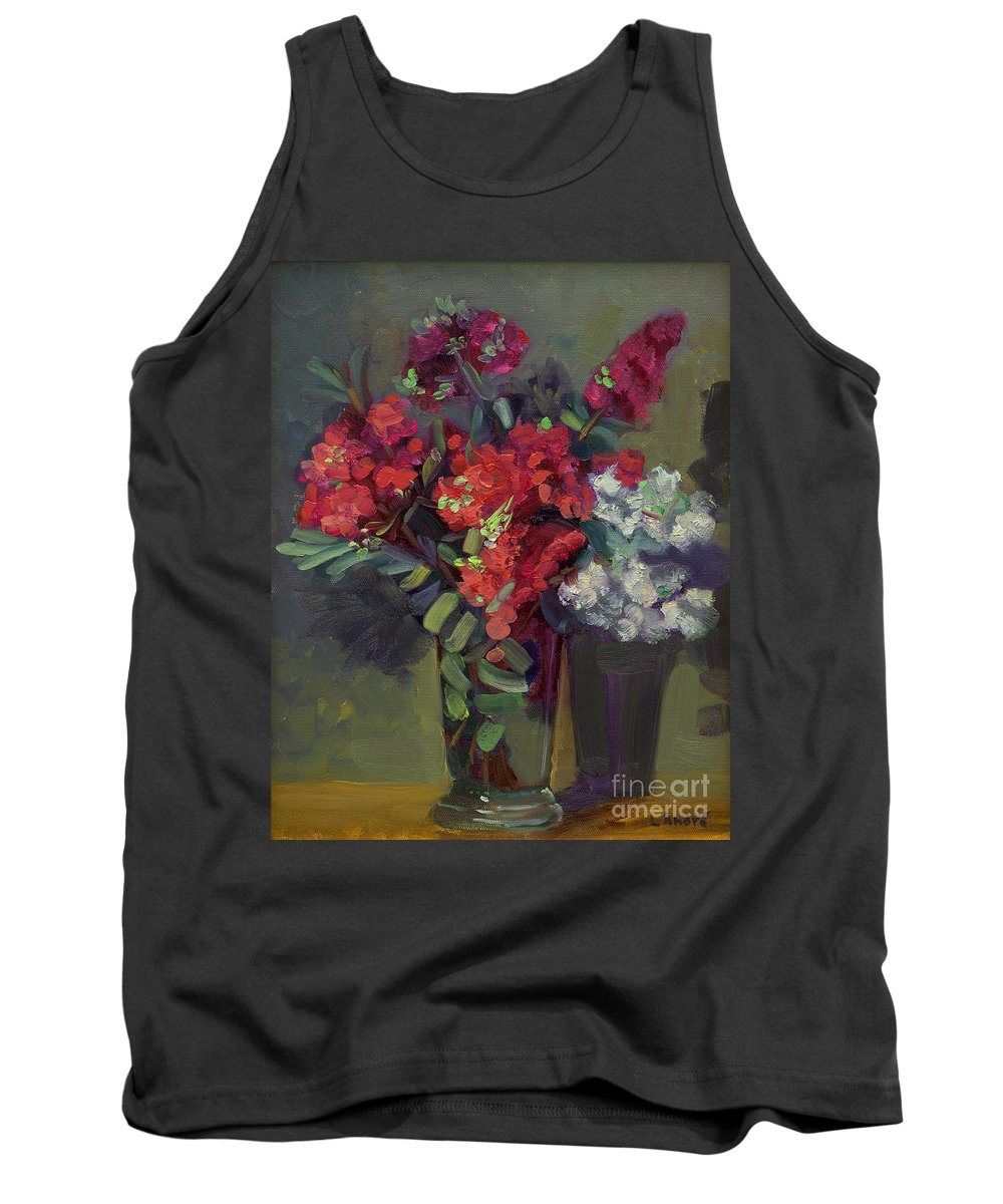 Floral Tank Top featuring the painting Crepe Myrtles In Glass by Lilibeth Andre