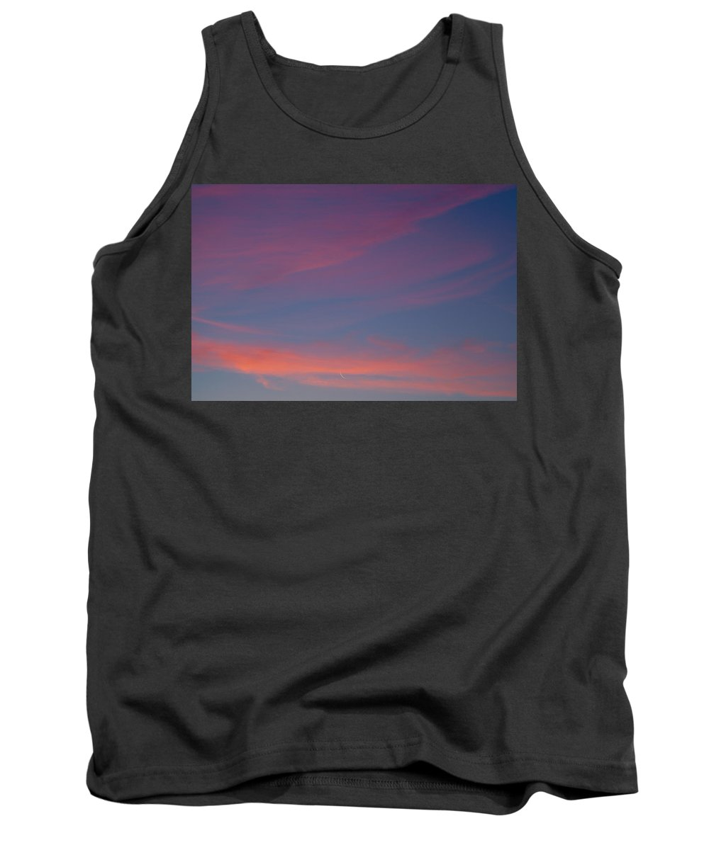 Dawn Tank Top featuring the photograph Crescent Moon In Dawn Sky by Irwin Barrett