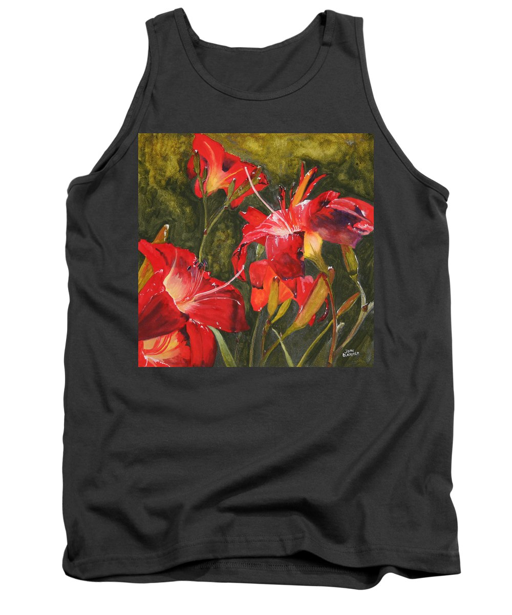 Red Tank Top featuring the painting Crimson Light by Jean Blackmer