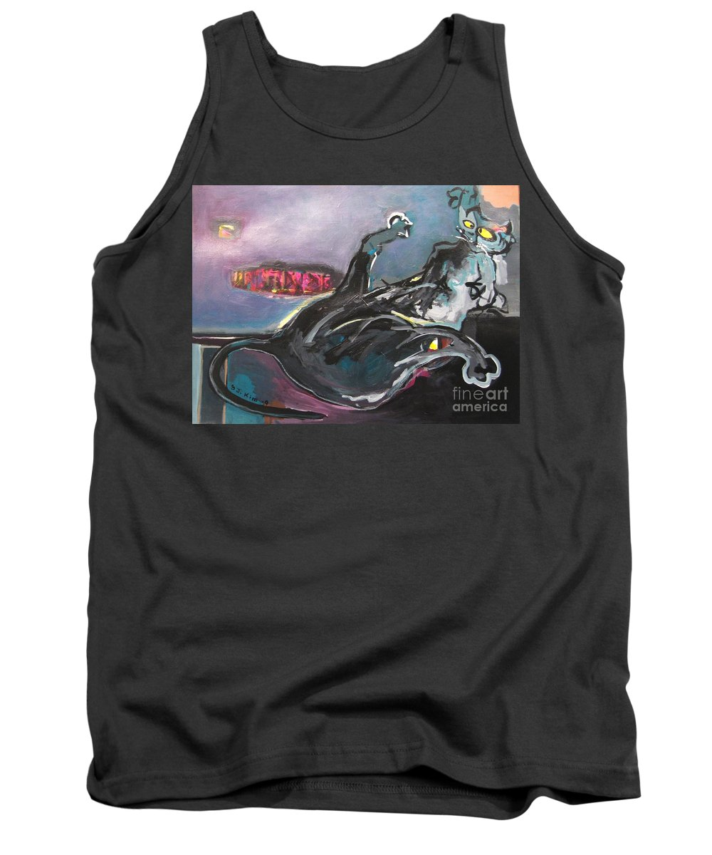 Cat Paintings Tank Top featuring the painting Crossed Eyed Cat by Seon-Jeong Kim